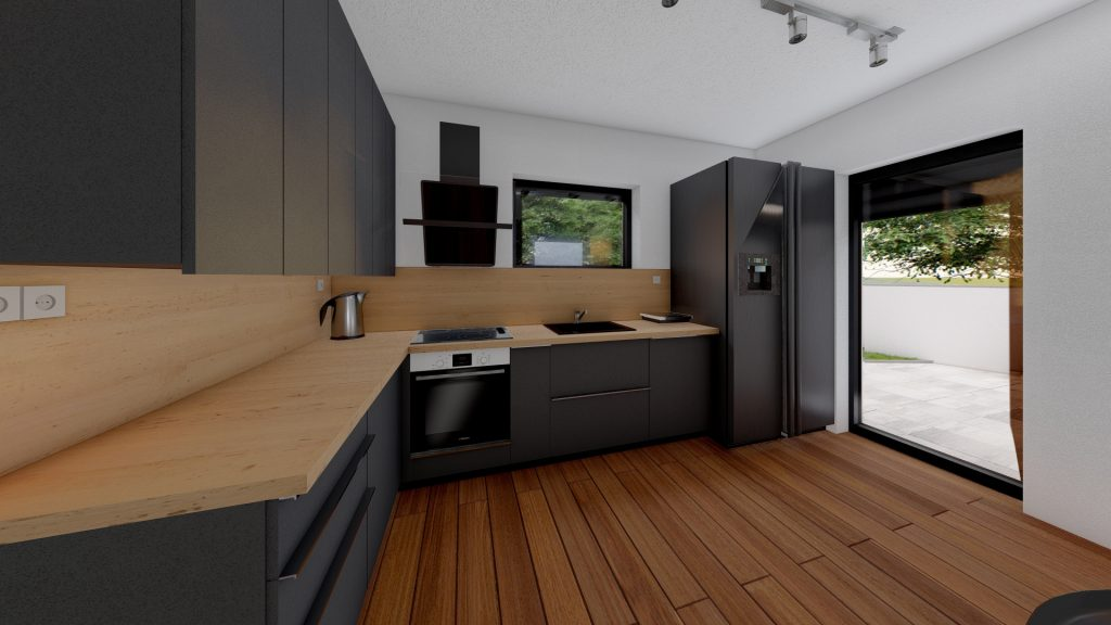 One floor house - interior / 3D visualization