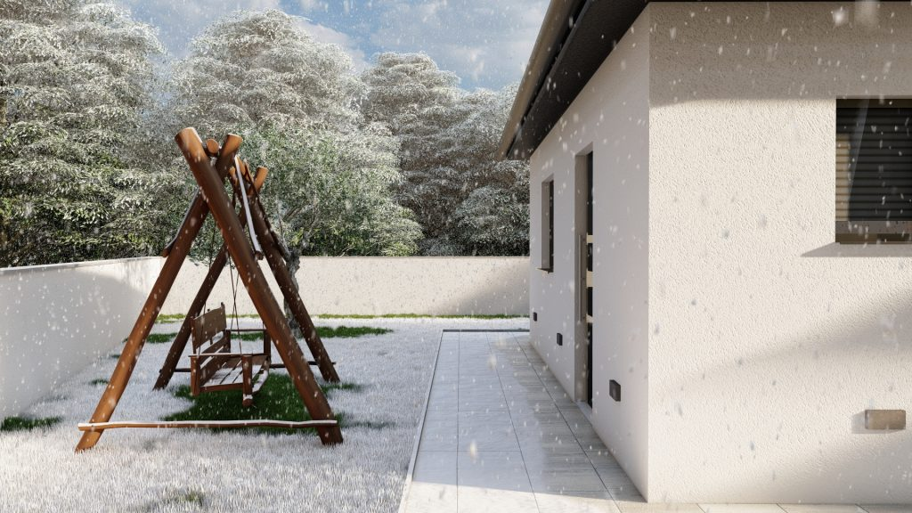One floor house - exterior / 3D visualization