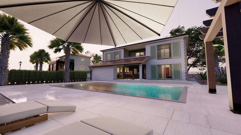 3d vizualizacija kuće s bazenom